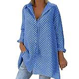 Dasongff Blusa para mujer con cuello en V, informal, tallas grandes, de manga larga, polka Dot Button Blusa Suéter, camisa, suelta, de manga larga