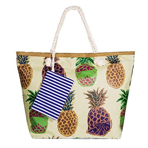 Vordas Strandtasche XXL Familie mit Reißverschluss, Strandtasche XXL mit Reißverschluss und Innentasche für Reise, Kaufen, Ausflug usw (Perfekte Größe 55 x 39 x 16,5 cm) (Damen Strandtasche 3)