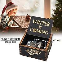 木製オルゴールヴィンテージ木製オルゴールクランクハンドルを回転させる誕生日/クリスマス/バレンタインのレトロなDIYギフト-冬が来ています