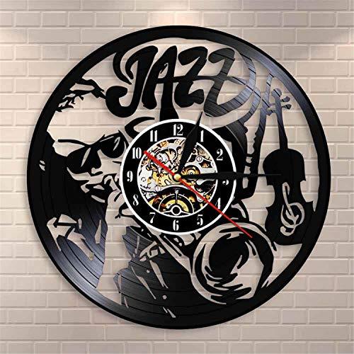 LBJZD Reloj de Pared Músicos Jazz Music Legend Reloj De Pared Violonchelo Trompeta Cuerno Instrumento De Música Clásica Disco De Vinilo Reloj De Pared Jazz Players Gift Sin Luz Led
