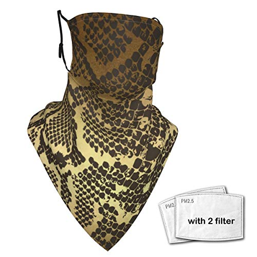 Neck Gaiter Face Scarf Bandanas Wind Sun Protection, Contemporary Golden Black Python Snake Skin Multi-Purpose Cloth mask Balaclava for Outdoor Hiking Cycling Running