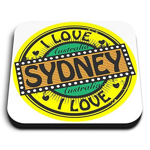 Destination Vinyl ltd Impresionantes imanes cuadrados de MDF – I Love Sydney Australia viaje para oficina, armario y pizarra blanca, pegatinas magnéticas, 4749