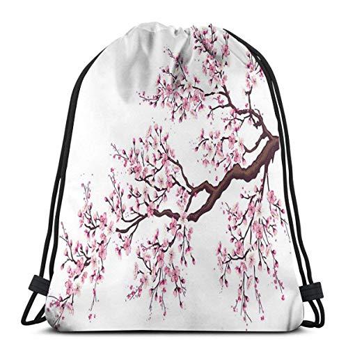 Odelia Palmer Mochilas Estampadas con cordón, Rama de un floreciente árbol de Sakura Flores Flores de Cerezo Arte temático de Primavera, Cierre de Cuerda Ajustable