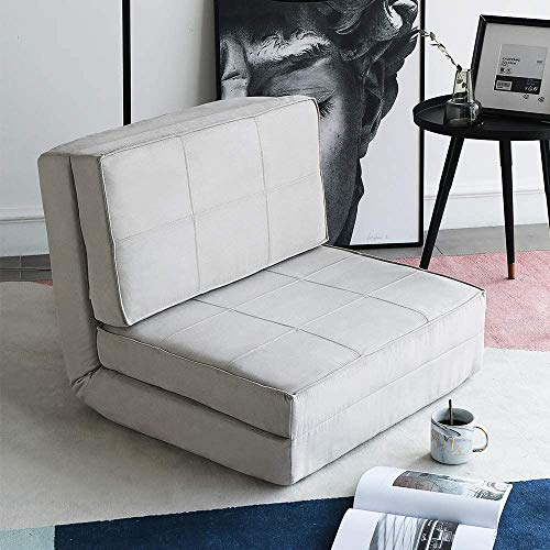 oneinmil Futon Folding Sofa Convertible Flip Chair, Dorm Game Bed Floor Couch Upholstered Chair (Gray)