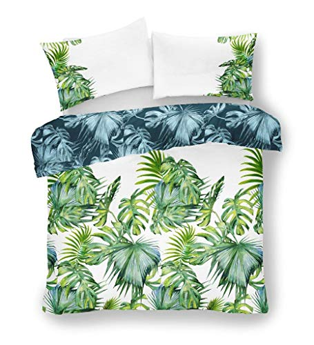 Reversible Duvet Cover Set King Size Polycotton Tropical Palm Leaf Bedding Quilt Set with Pillowcases, Tropical Leaf