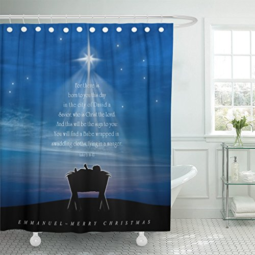 Emvency Shower Curtain Star Christmas Nativity Scene of Baby Jesus in The Manger with Scriptures Tree Shape Christ Waterproof Polyester Fabric 72 x 72 Inches Set with Hooks