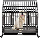 Heavy Duty Dog Cage Crate, Pet Kennel Strong Metal for Training Large Dog, Easy to Assemble, with Two Prevent Escape Lock, Lockable Wheels, Removable Tray for Indoor Outdoor