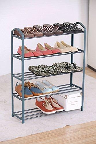 Spetebo Metall Schuhregal mit 5 Etagen - für bis zu 15 Paar Schuhe - Stabile Schuhablage