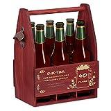Murrano Bierträger für 6 Flaschen 0,5L + Gravur - Männerhandtasche mit Flaschenöffner - Größe: 25x17x32cm - aus Holz - Geschenk für Männer zum Geburtstag - Geschmack des Lebens