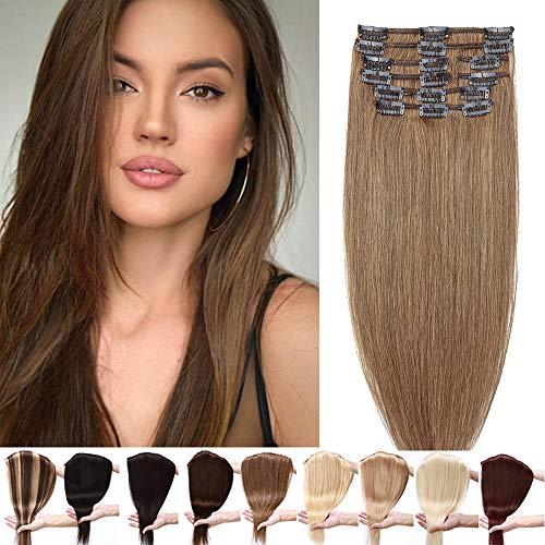 Clip in Extensions Echthaar Haarteile Echthaar 8 Tressen 18 Clips Weich Natürlich Haarverlängerung Glatt Hair Extensions 7A Remy Haare 60cm-90g 06# Hellbraun