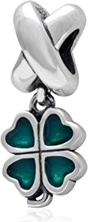 Sterling Silver Green Lucky Irish Four Leaves Clover Heart Bead Charm for Charms Bracelet