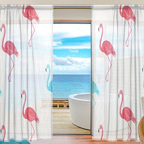 yibaihe Fenster Vorhänge, Gardinen Platten Fenster Behandlung Set Voile Drapes Tüll Vorhänge Pink Flamingo Muster 140W x 213 L cm 2Einsätze für Wohnzimmer Schlafzimmer Girl 's Room