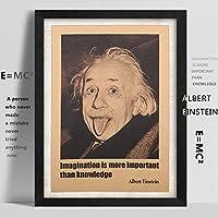 アルバートアインシュタインポスターヴィンテージレトロ紙ウォールステッカー想像力は知識よりも重要です