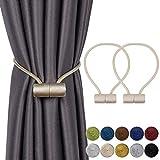INHDBOX Magnetische Vorhang Raffhalter Vorhang Clips Seil Rückwärtige Vorhang Halter Schnallen Vorhang Binder Vorhängehalter für Haus Dekoration Cafe Büro 2 Stück, EU patent (007971841-0001)