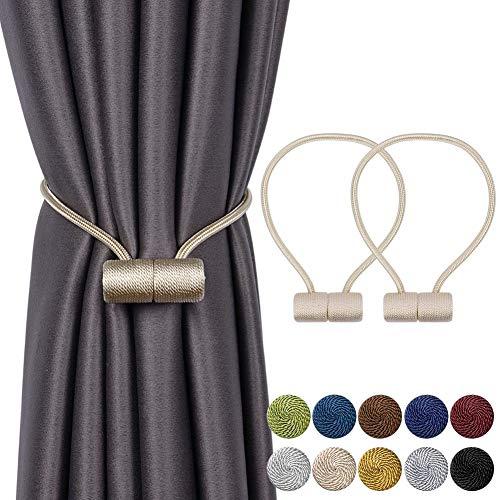 INHDBOX Magnetische Vorhang Raffhalter Vorhang Clips Seil Rückwärtige Vorhang Halter Schnallen Vorhang Binder Gardinenhalter für Haus Dekoration Cafe Büro 2 Stück, EU patent (007971841-0001)