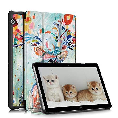TOPCASE Funda Compatible con Huawei MediaPad T3 10,Ultra Delgado PU Funda de Piel Case con Soporte Función para Huawei MediaPad T3 10 9.6 Pulgadas,Deer