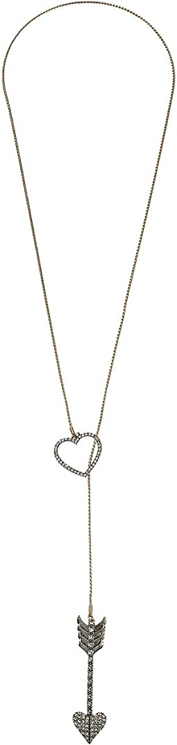 Pave Heart & Arrow Long Lariat Necklace