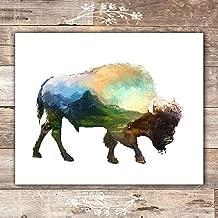 Double Exposure Bison Art Print - Unframed - 8x10 | Buffalo Wall Decor