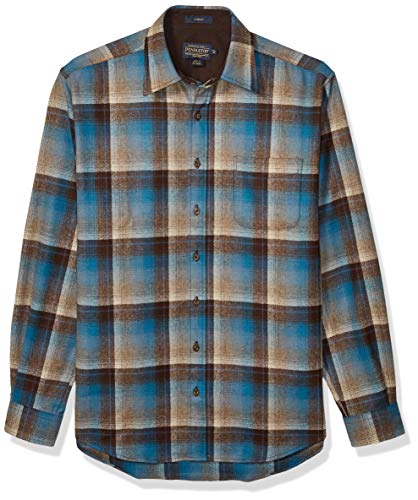 Pendleton Men's Size Long Sleeve Button Front Tall Lodge Shirt, Brown/Blue Ombre, XXL