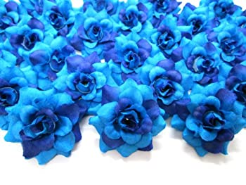 100  Silk Two Tone Blue Roses Flower Head - 1.75  - Artificial Flowers Heads Fabric Floral Supplies Wholesale Lot for Wedding Flowers Accessories Make Bridal Hair Clips Headbands Dress