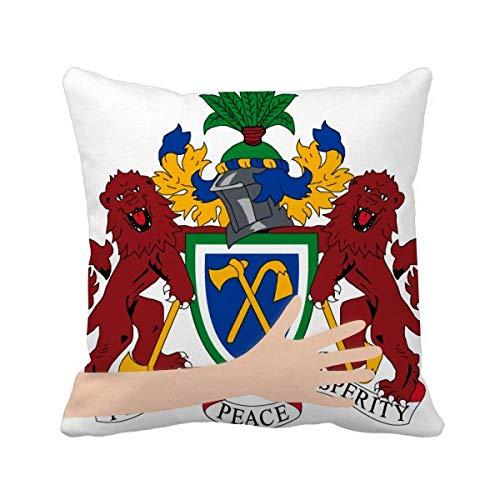 Gambia Ãfrica Emblema Nacional Cojín Cuadrado Mano Cubierta