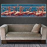 HUANGXLL Cuadro de Arte de Pared de Lienzo Pintura de Lienzo Flamingo Animal Impresiones de Arte Lienzo y Cuadro de Arte de Pared decoración del hogar Cuadro de Arte de pared-50x150cm-sin Marco