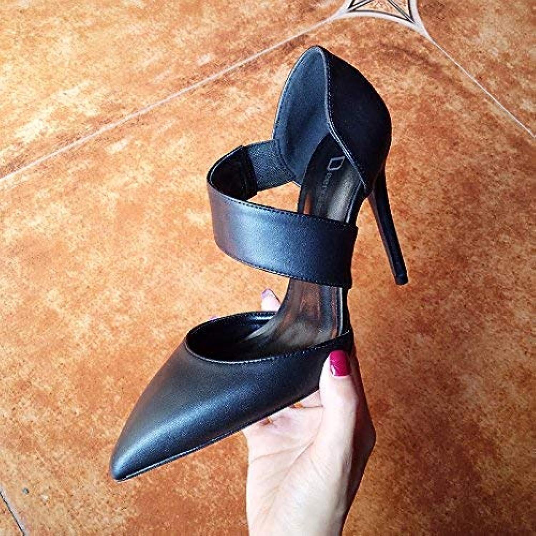 Sandalen Frau + Wort mit professionellen schwarzen Baotou High Heels Frau Geldstrafe mit Gezeiten (Farbe   EU 40, Gre   schwarz 8CM)