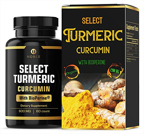 Organic Turmeric Curcumin Supplement Capsules 1200mg with Bioperine® (Black Pepper Powder Extract) Anti Inflammatory Supplement, Skin Health, Joint Pain Relief by Noble Labs