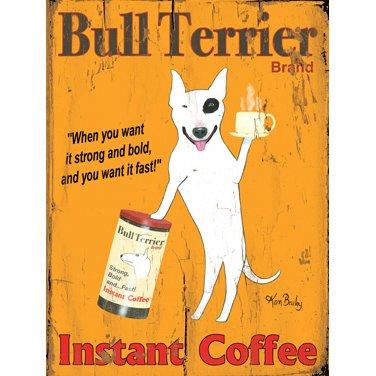 Bull Terrier Onmiddellijke koffie door kunstenaar Ken Bailey houten bord muurdecoratie kunst