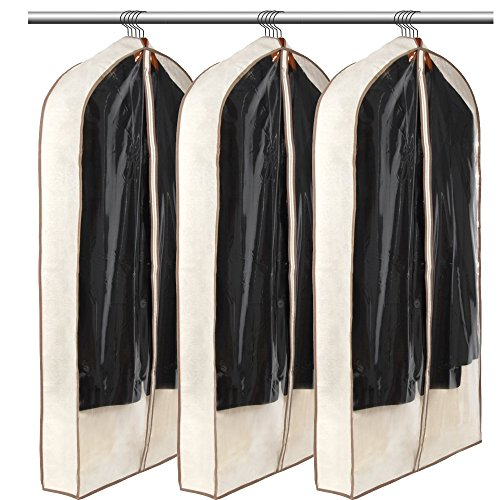 LUXEHOME Reusable Folding Garment Bags for Suits, Cloth, Protects Storage Home Decor, Set of 3