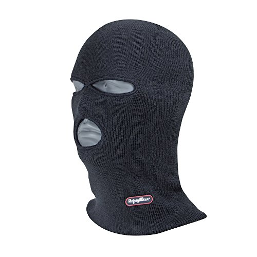 RefrigiWear Thermal Double Layer Long Neck 3-Hole Full Face Cover Balaclava Ski Mask (Black, One Size Fits All)