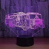 Veilleuse Lumière de Nuit, Dessin animé Illusion 3D, Changer Camion de Pompiers de Voiture USB Sleep Light Fixture Chambre s 3D...