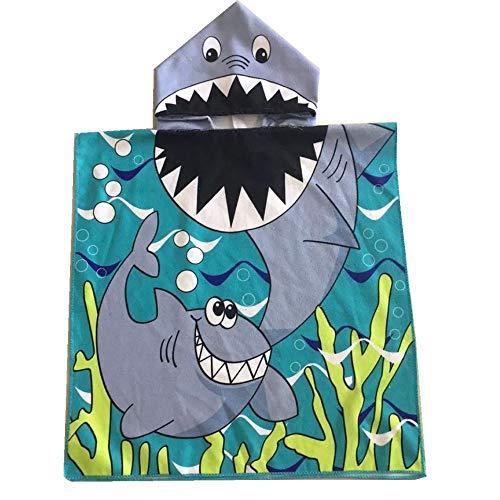 バスタオル 子供用 ポンチョタオル キッズ フード付き ビーチ向け 6色選択 タオルスイミング用 キッズ ラップタオル プールタオル 水泳タオル 白い鮫