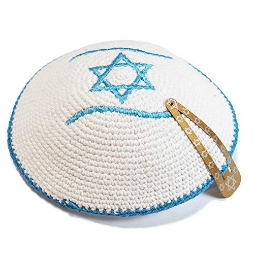 JL Kippha's Gestrickte 18 cm Weiß Magen David Kippah jüdischen Kipa Israel Flag Yarmulke Synagoge