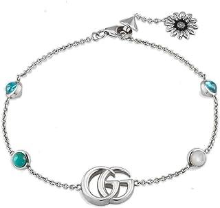 Gucci bracciale fiore e doppia g in argento con pietre