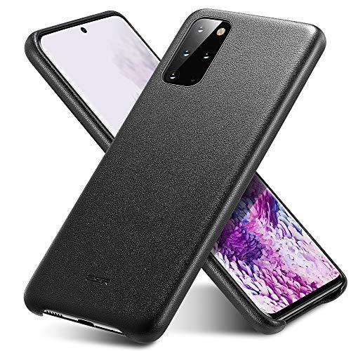 ESR capa de couro vegano compatível com Galaxy S20 Plus – capa de celular fina de couro sintético [suporta carregamento sem fio] [resistente a arranhões] capa protetora para Samsung Galaxy S20 Plus (2020) – preta