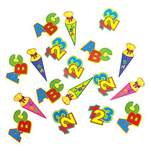 Oblique Unique® ABC Schultüte 123 Zahlen Buchstaben Tisch Dekoration zur Schuleinführung - Konfetti Zuckertüte Einschulung Schulanfang