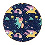Coasters for Drinks Leather Print Drink Coasters (4.3 Inch, Round, 12mm Thick), Unicornio Arcoiris Estrella Absorbent Heat-Resistant Coasters for Drinks, Great Housewarming Gift Set of 6 11 cm