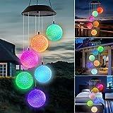 Solar Windspiel für Draußen, Farbwechsel LED Hangende Mobile Romantisch Nachtlichter, wasserdichte Solar Windglocke Lichter für Garten Zuhause Yard Patio Party Schlafzimmer Fenster Dekor (Ball)