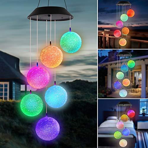 Campanas de Viento solares, LED a Prueba de Agua Que Cambia de Color Bola Solar Romántica Campana de Viento Luces Regalo para la Madre Jardín al Aire Libre Patio de la casa Patio Decoración