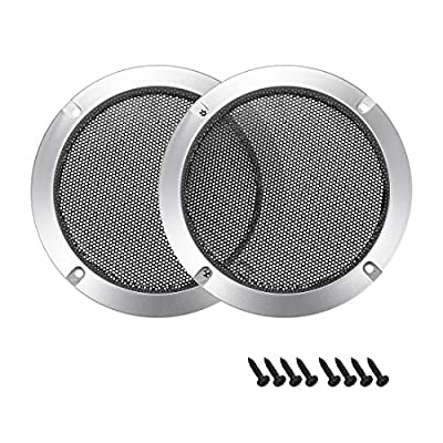 """sourcing map 2pcs 3"""" Speaker Grill Mesh Decorative Circle Woofer Guard Protector Cover Audio Accessories Silver by sourcing map"""