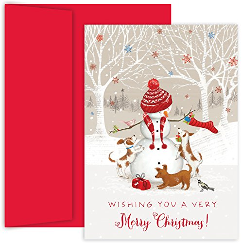 Masterpiece Studios Holiday Collection 18-Count Boxed Christmas Cards with Envelopes, 7.8' x 5.6', Snowman & Friends