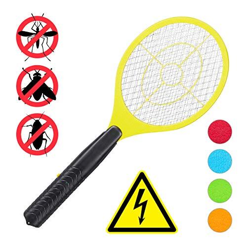 Relaxdays, gelb elektrische Fliegenklatsche, ohne chemische Stoffe, gegen Fliegen, Mücken & Moskitos, Fly Swatter, HxBxT: 47x17,5x3cm
