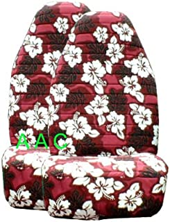 2 Hawaiian Hibiscus Seat Covers - Hawaii Red