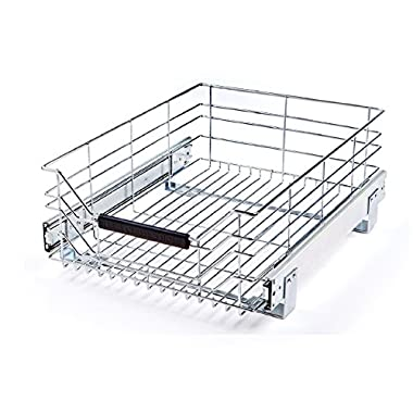 Seville Classics Pull-Out Sliding Steel Wire Cabinet Organizer Drawer, 14  W x 17.75  D x 6.3