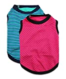 DroolingDog Pet Dog Striped T-Shirts Sleeveless Dogs Cotton Clothes for Large Dogs, XXXXXL, Pack of 2