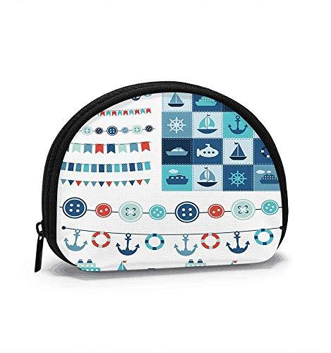 Sea Theme Garland Patchwork Summer Transportation Women Girls Shell Cosmetic Make Up Storage Bag Outdoor Shopping Coins Wallet Organizer