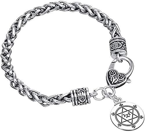 Liuqingzhou Co.,ltd Sello de Solomon Charm BraceletStar Jewish Talismán Amuleto Pulsera para Hombres Niños Pulsera de Cadena de Trigo Punk 20cm