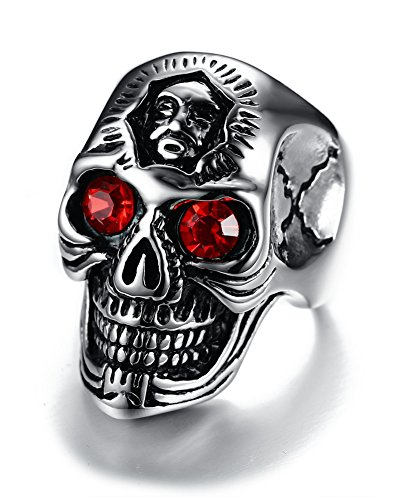 Joielavie Anillo de joyería con doble calavera, esqueleto rojo, ojos de estrás de acero inoxidable, estilo punk rock, motociclista, regalo para hombres #S
