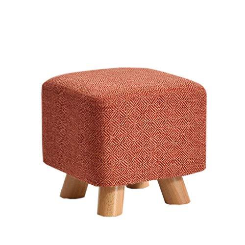 YLCJ kruk van massief hout, modieus, kleine kruk, vierkant, van stof, kruk, huis, salontafel, kruk, bank voor schoenen in de gang van de woonkamer (kleur: groen) Jujube Red